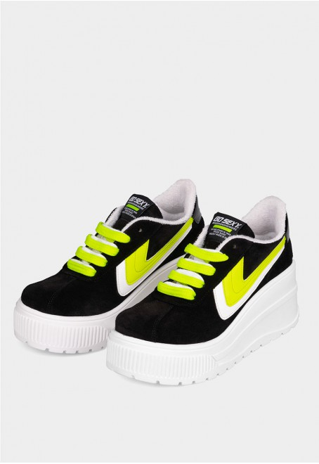 Sonic black suede with yellow fluor details