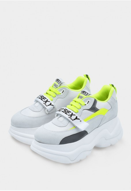 X-Plorer ice white suede with reflective fluor yellow