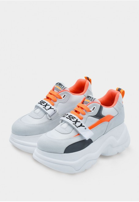 X-Plorer ice white suede with reflective fluor orange