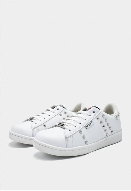 Tachas blanco adornos plata