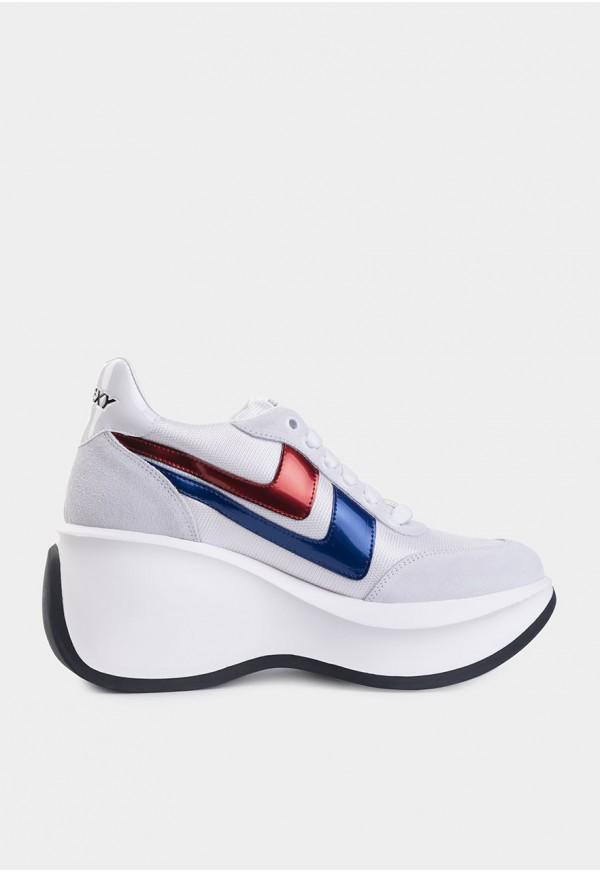 Go Sexy Iconic serraje blanco adornos en azul y rojo