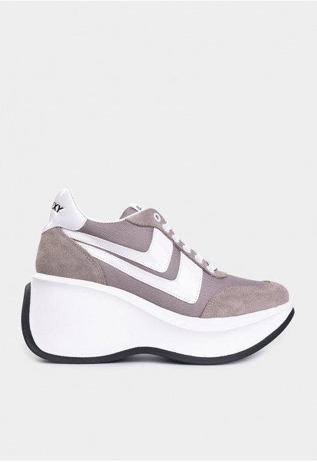 Iconic taupe suede-nylon