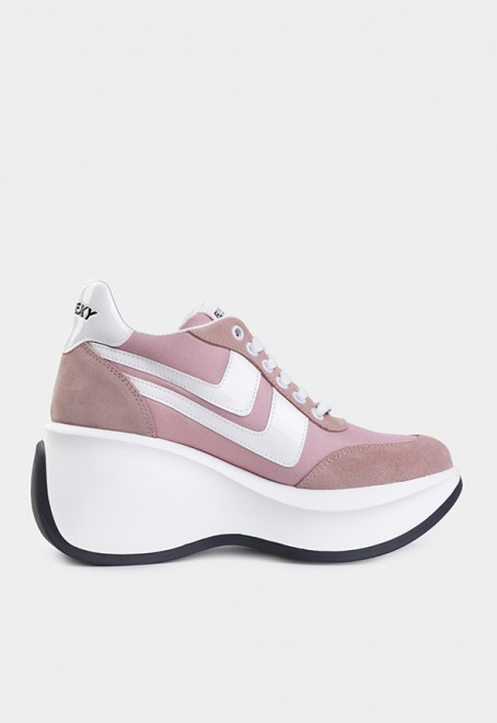 Iconic pink suede-nylon