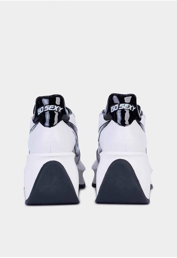 Go Sexy Iconic piel blanco adornos en negro
